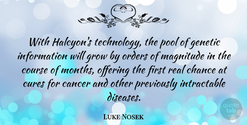 Luke Nosek Quote About Chance, Course, Cures, Genetic, Grow: With Halcyons Technology The Pool...