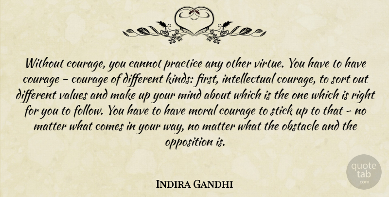 Indira Gandhi Without Courage You Cannot Practice Any Other Virtue