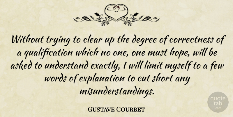 Gustave Courbet Quote About Cutting, Trying, Degrees: Without Trying To Clear Up...