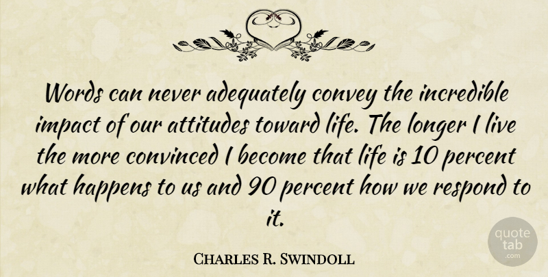Charles R. Swindoll Quote About Life, Attitude, Impact: Words Can Never Adequately Convey...