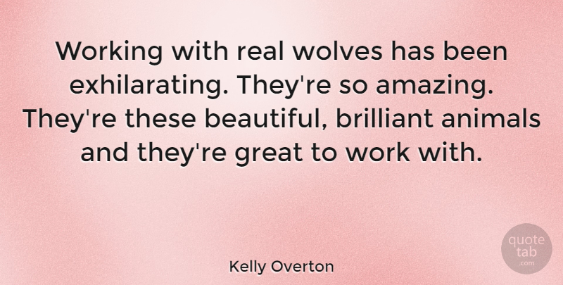 Kelly Overton Quote About Amazing, Animals, Brilliant, Great, Wolves: Working With Real Wolves Has...