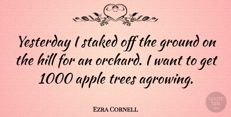 Ezra Cornell Quote About Apples, Yesterday, Tree: Yesterday I Staked Off The...