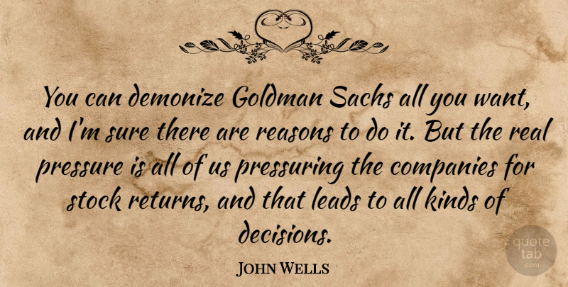 John Wells Quote About Companies, Demonize, Leads, Reasons, Stock: You Can Demonize Goldman Sachs...