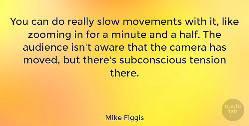 Mike Figgis Quote About Aware, English Director, Minute, Movements, Tension: You Can Do Really Slow...