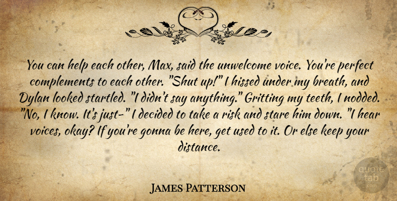 James Patterson Quote About Distance, Voice, Perfect: You Can Help Each Other...