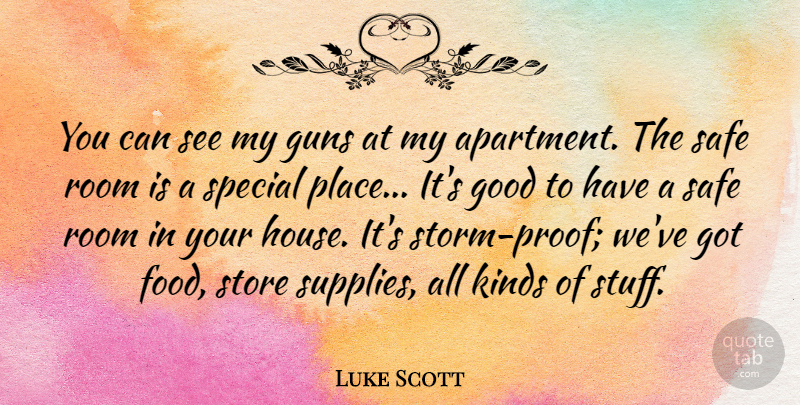 Luke Scott Quote About Gun, House, Storm: You Can See My Guns...