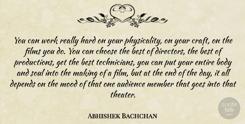 Abhishek Bachchan Quote About Audience, Best, Body, Choose, Depends: You Can Work Really Hard...