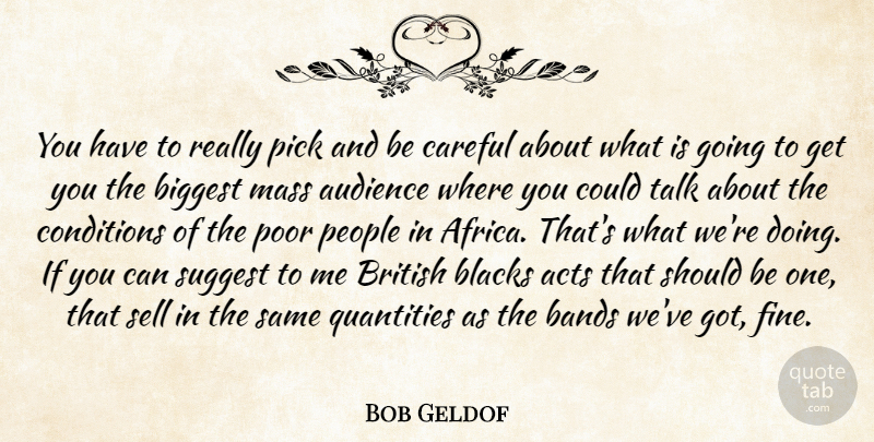 Bob Geldof Quote About Acts, Audience, Bands, Biggest, Blacks: You Have To Really Pick...