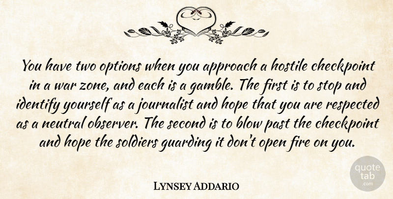 Lynsey Addario Quote About Approach, Blow, Fire, Hope, Hostile: You Have Two Options When...