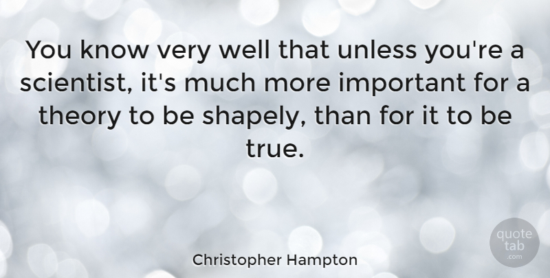 Christopher Hampton Quote About Important, Scientist, Theory: You Know Very Well That...