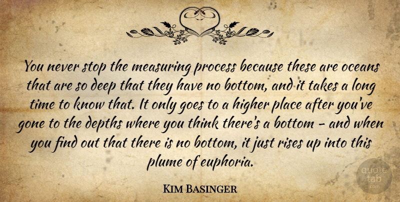 Kim Basinger Quote About Ocean, Thinking, Long: You Never Stop The Measuring...