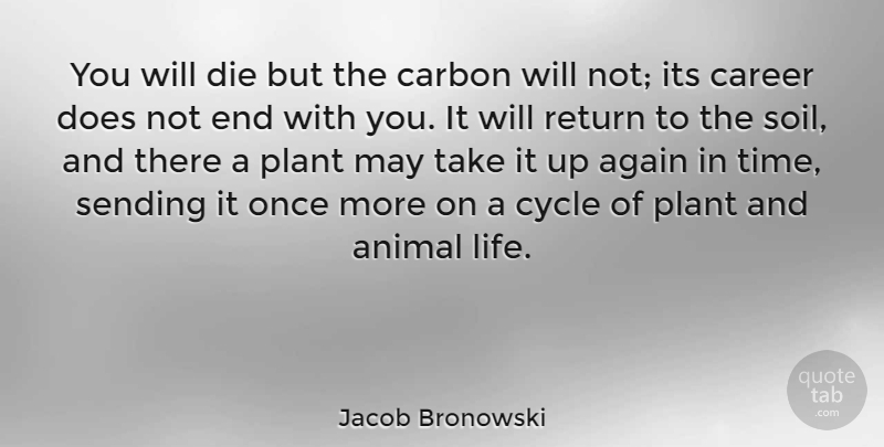 Jacob Bronowski Quote About Animal, Grandchildren, Careers: You Will Die But The...