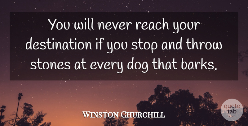 Winston Churchill Quote About Inspirational, Inspiring, Dog: You Will Never Reach Your...