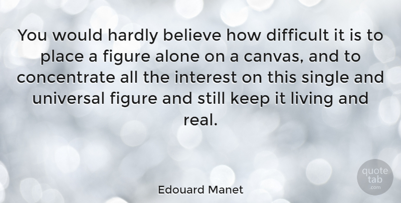 Edouard Manet Quote About Real, Believe, Canvas: You Would Hardly Believe How...