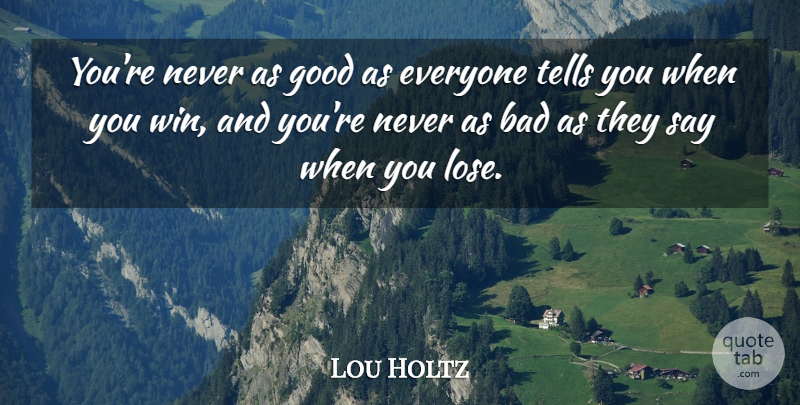 Lou Holtz Quote About Motivational, Basketball, Confidence: Youre Never As Good As...