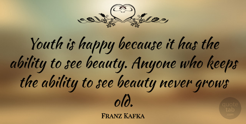 Franz Kafka Quote About Happy Birthday, Beauty, Inspirational Birthday: Youth Is Happy Because It...