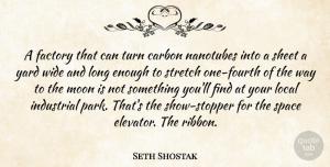 Seth Shostak Quote About Carbon, Factory, Industrial, Local, Moon: A Factory That Can Turn...