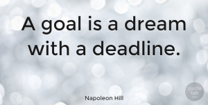 Business Quotes, Napoleon Hill Quote About Inspirational, Dream, Business: A Goal Is A Dream...