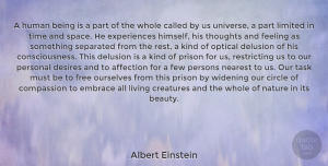 Albert Einstein Quote About Inspirational, Beauty, Spiritual: A Human Being Is A...