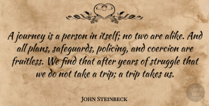 Travel Quotes, John Steinbeck Quote About Travel, Struggle, Journey: A Journey Is A Person...