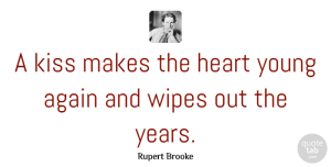 Rupert Brooke Quote About Love, Relationship, Valentines Day: A Kiss Makes The Heart...