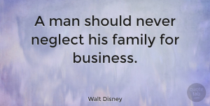 Inspiring Quotes, Walt Disney Quote About Inspirational, Family, Inspiring: A Man Should Never Neglect...
