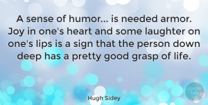 Happiness Quotes, Hugh Sidey Quote About Funny, Happiness, Laughter: A Sense Of Humor Is...