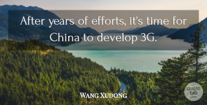 Wang Xudong Quote About China, Develop, Time: After Years Of Efforts Its...