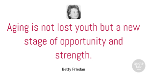 Birthday Quotes, Betty Friedan Quote About Birthday, Strength, Inspiring: Aging Is Not Lost Youth...