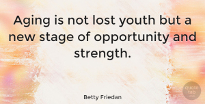 Inspiring Quotes, Betty Friedan Quote About Birthday, Strength, Inspiring: Aging Is Not Lost Youth...