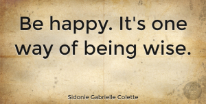 Wise Quotes, Sidonie Gabrielle Colette Quote About Happiness, Happy, Wise: Be Happy Its One Way...