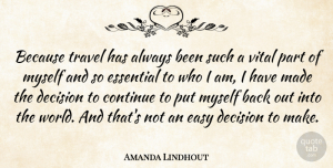 Travel Quotes, Amanda Lindhout Quote About Continue, Essential, Travel, Vital: Because Travel Has Always Been...