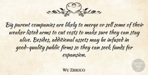 Wu Zhiguo Quote About Additional, Arms, Assets, Companies, Costs: Big Parent Companies Are Likely...