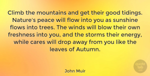 Nature Quotes, John Muir Quote About Peace, Nature, Sunshine: Climb The Mountains And Get...
