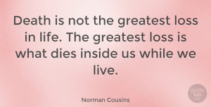 Norman Cousins Quote About Inspirational, Life, Sympathy: Death Is Not The Greatest...