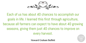 Accomplish Quotes, Howard Graham Buffett Quote About Accomplish, Chance, Chances, Expect, Farmers: Each Of Us Has About...