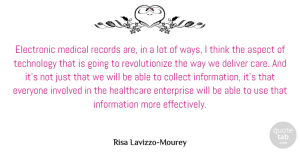Aspect Quotes, Risa Lavizzo-Mourey Quote About Aspect, Collect, Deliver, Electronic, Enterprise: Electronic Medical Records Are In...