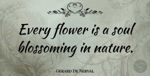 Gerard De Nerval Quote About Nature, Flower, Tree: Every Flower Is A Soul...
