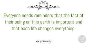 Fact Quotes, Marge Kennedy Quote About Fact, Life, Needs, Reminders: Everyone Needs Reminders That The...