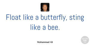Inspiration Quotes, Muhammad Ali Quote About Strength, Sports, Inspiration: Float Like A Butterfly Sting...