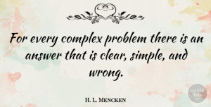 H. L. Mencken Quote About Funny Inspirational, Freedom, Business: For Every Complex Problem There...