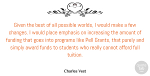 Amount Quotes, Charles Vest Quote About Afford, American Educator, Amount, Best, Cannot: Given The Best Of All...