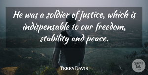 Terry Davis Quote About Soldier, Stability: He Was A Soldier Of...