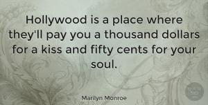 Inspiring Quotes, Marilyn Monroe Quote About Inspirational, Inspiring, Kissing: Hollywood Is A Place Where...