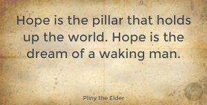 Hope Quotes, Pliny the Elder Quote About Dream, Hope, Men: Hope Is The Pillar That...