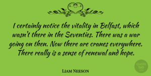 Liam Neeson Quote About War, Vitality, Renewal: I Certainly Notice The Vitality...