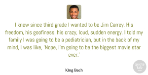 Knew Quotes, King Bach Quote About Biggest, Family, Freedom, Grade, Jim: I Knew Since Third Grade...