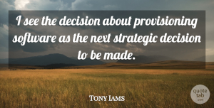 Tony Iams Quote About Decision, Next, Software, Strategic: I See The Decision About...