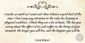 Physical Quotes, Zack Wheat Quote About Attention, Chew, Deal, Effect, Good: I Smoke As Much As...