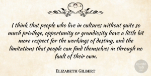 Fault Quotes, Elizabeth Gilbert Quote About Bit, Fault, Opportunity, People, Quite: I Think That People Who...